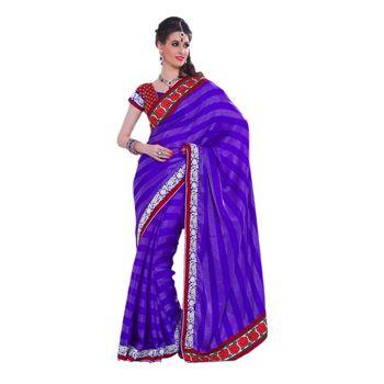 Hypnotex Satin silk patta Blue Color Designer Saree Violet116