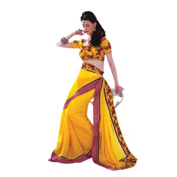 Hypnotex Satin Chiffon Jacquard Yellow Color Designer Saree Violet123