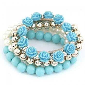 Roses Bracelet set- Blue