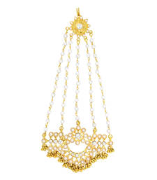 Buy Traditional Ethnic Pearl Floral Jhoomar Passa Maang Tika for Women hair-accessory online