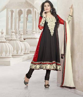 Elegant Anarkali Georgette Printed Embroidery Suit Materials D.No S205