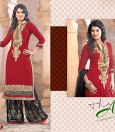 Buy Red georgette embroidered semi stitched salwar with dupatta pakistani-salwar-kameez online