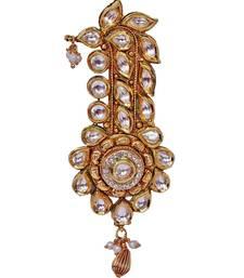 Buy Heer&Sahib Royal Rajputana Wedding Turban Kundan Kalgi Embedded with Zircons having pearl drops Other online