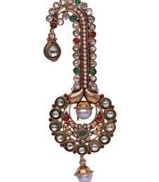 Buy Heer&Sahib Multicolor Designer Wedding Turban Kundan  and  Pearl Kalingi men-festive-wear online