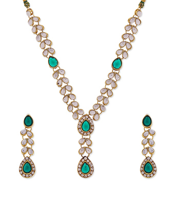 Green Designer Kundan Dimante Necklace set