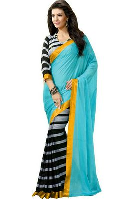 sky blue and black embroidered georgette sareem with blouse