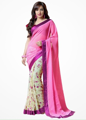 pink and white embroidered georgette sareem with blouse