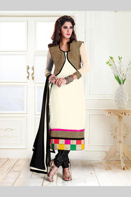 Off white and Black embroidered Georgette semi stitched salwar with dupatta