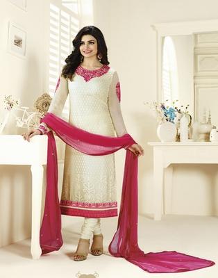 White embroidered Brasso semi stitched salwar with dupatta