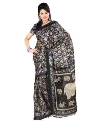 blue  bhagalpuri silk saree with blouse