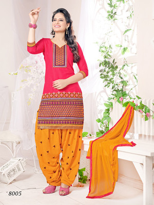 Red embroidered Cambric and Cotton unstitched salwar with dupatta