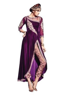 Vine embroidered velvet semi stitched salwar with dupatta