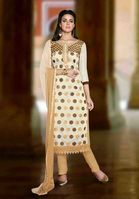 White Chanderi embroidered unstitched salwar with dupatta
