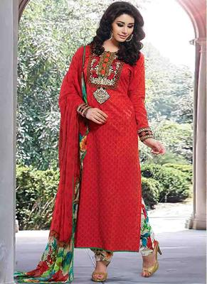 Red Cotton printed unstitched salwar with dupatta