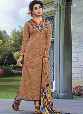 Beige Cotton printed unstitched salwar with dupatta