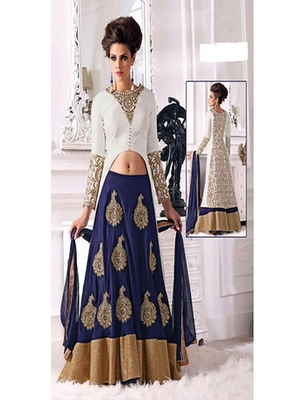 Navyblue pure chiffon  embroderied semi stitched salwar with dupatta