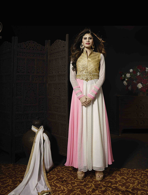 Pink georgette  and  net embroderied semi stitched salwar with dupatta