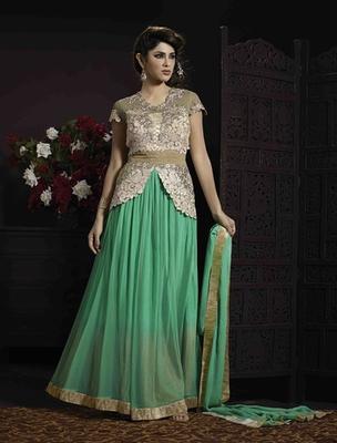 Green soft net embroderied semi stitched salwar with dupatta