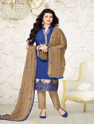Blue georgette embroderied semi stitched salwar with dupatta
