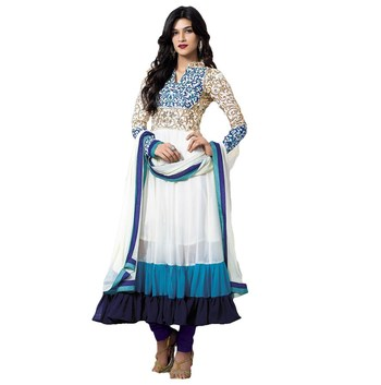 sky blue and white faux georgette embroidered unstitched salwar with dupatta