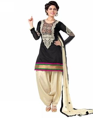 black chanderi cotton embroidered unstitched salwar with dupatta