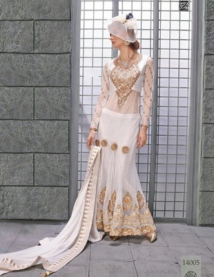 White embroidered net semi stitched salwar with dupatta