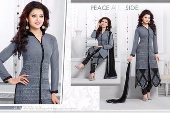 grey georgette printed semi stitched salwar with dupatta