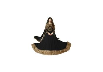 black Embroidery & Stone & patch patta work georgette semi_stitched salwar