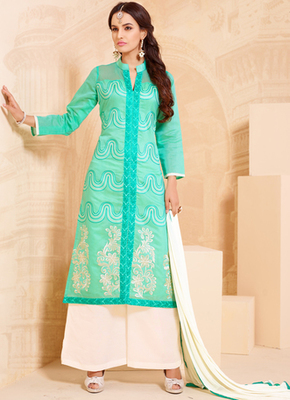 Cyan embroidered cotton semi stitched salwar with dupatta