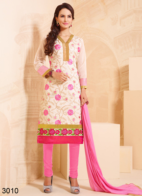 Ligthpink embroidered cotton semi stitched salwar with dupatta