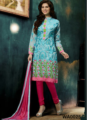Sky blue embroidered Chanderi and cotton semi stitched salwar with dupatta