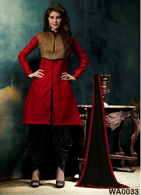 Red embroidered Chanderi and cotton semi stitched salwar with dupatta