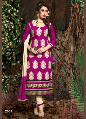 Dark pink and Cream embroidered Chanderi and cotton semi stitched salwar with dupatta