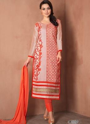 Light orange embroidered Chanderi and cotton semi stitched salwar with dupatta