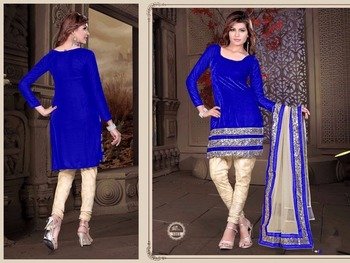 Blue velvet embroidered unstitched salwar with dupatta