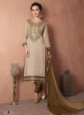 Beign embroidered Chanderi and cotton semi stitched salwar with dupatta