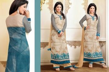 Blue georgette embroidered unstitched salwar with dupatta