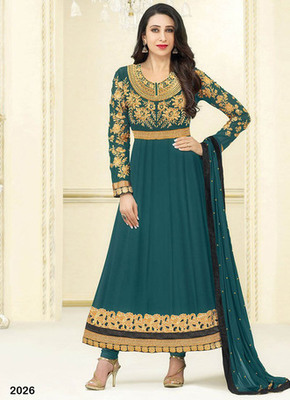Rama embroidered georgette semi stitched salwar with dupatta