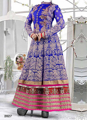 Blue  embroidered georgette semi stitched salwar with dupatta