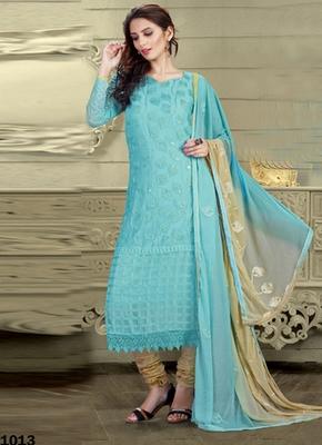 Sky blue Karachi Nazneen semi stitched salwar with dupatta
