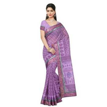 Violet printed cotton sare with blouse
