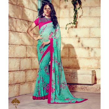 Green printed georgette sare with blouse