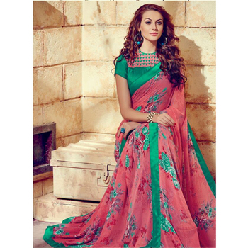 Red and Green printed georgette sare with blouse