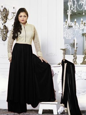 Beige and Black embroidered georgette semi stitched salwar with dupatta