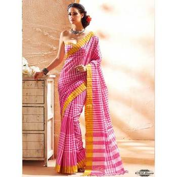 Pink printed cotton sare with blouse