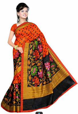 ORANGE printed art silk sare with blouse