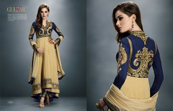 Blue  and  Cream Georgette embroidered semi stitched salwar with dupatta