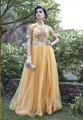 Yellow Georgette  and  Net  embroidered semi stitched salwar with dupatta