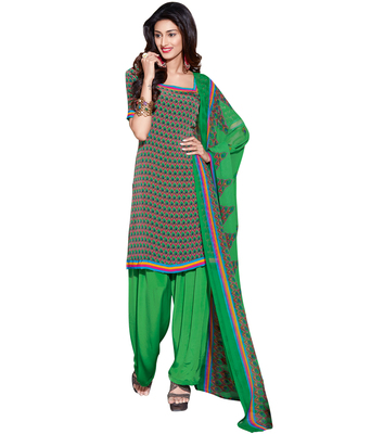 Green printed Crepe unstitched salwar with dupatta