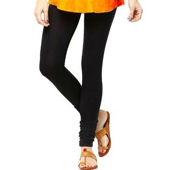 Black plain 4-Way Lycra Cotton leggings
